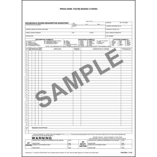 Household Goods Descriptive Inventory Form - Short Form