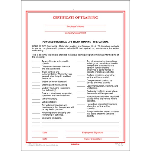 Powered Industrial Lift Truck Training Certificate - Operational