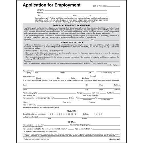 Driver\u0027s Application for Employment - Paper