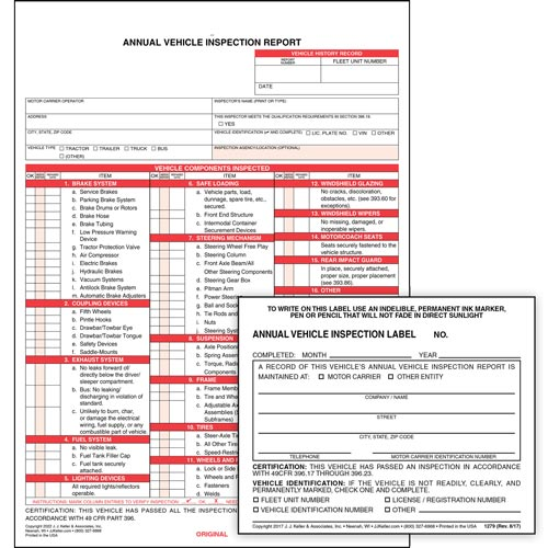 Annual Vehicle Inspection Report (w/ Carbon) + Label - Retail