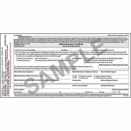Medical Examination Certificate - Laminated