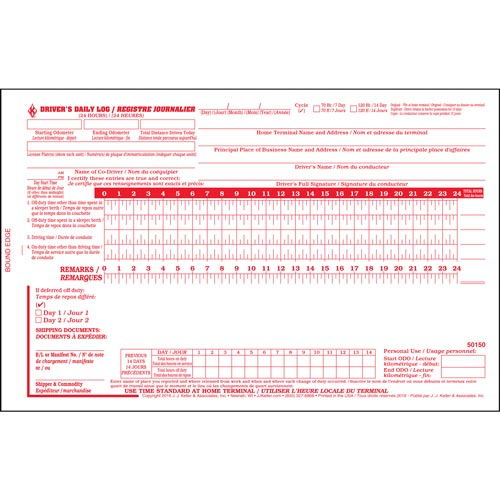 Quebec Driver\u0027s Daily Log Book, Bilingual, 2-Ply, w/Carbon, No Recap