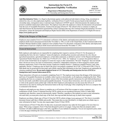 Form I-9 Employment Eligibility Verification - verification of employment form