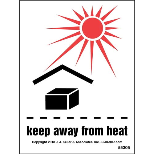 Keep Away From Heat Shipping Label with Icons