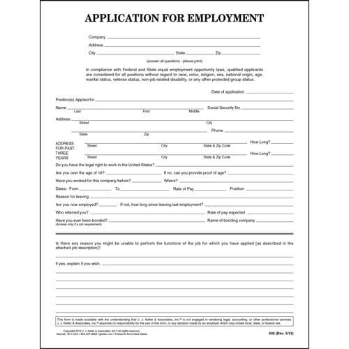 General Application For Employment - Generic Application For Employment