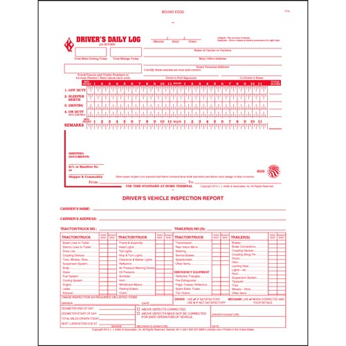 2-In-1 Driver\u0027s Daily Log Book w/Detailed DVIR, 2-Ply, Carbonless