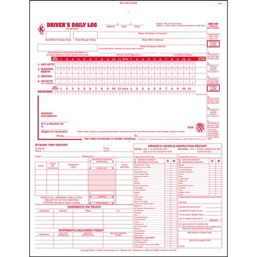 5-In-1 Driver\u0027s Daily Log Book, 2-Ply, Carbonless - Stock