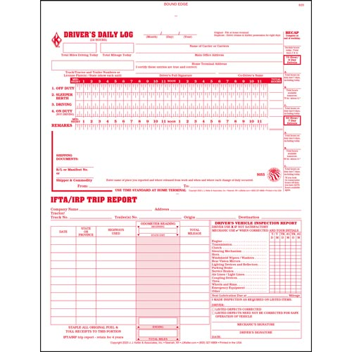 3-In-1 Driver\u0027s Daily Log Book, 3-Ply, Carbonless, Book Format - Stock - truck driver log book template