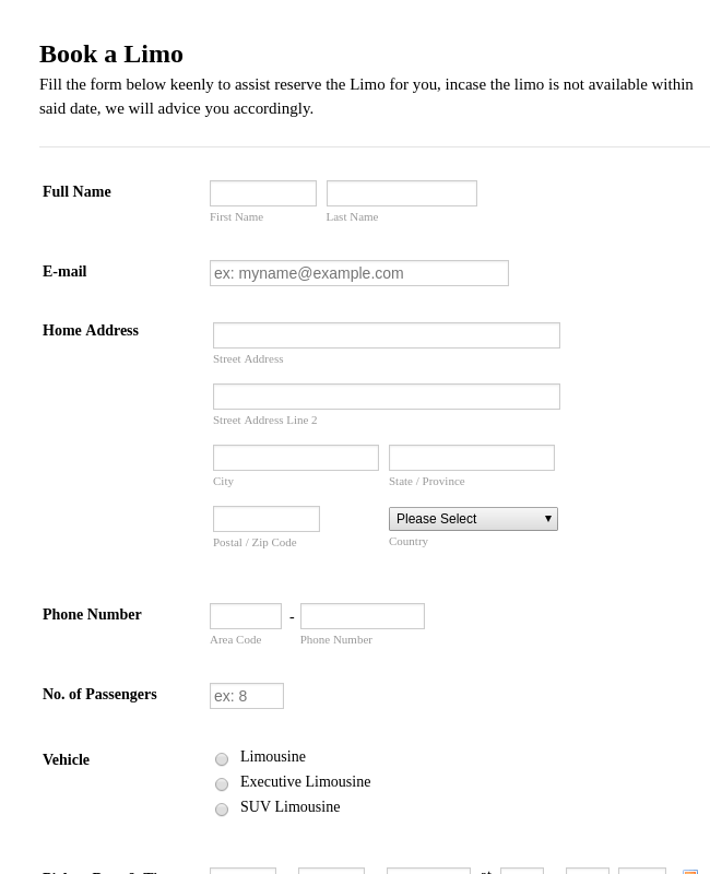 limo contract template
