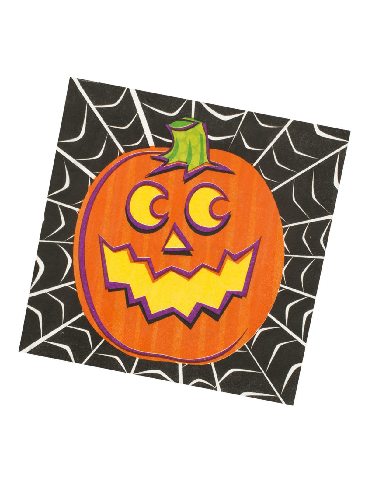 Halloween Gespenster Servietten Halloween Pappgeschirr Grinsender Kürbis 16 Servietten Orange Schwarz 33x33cm