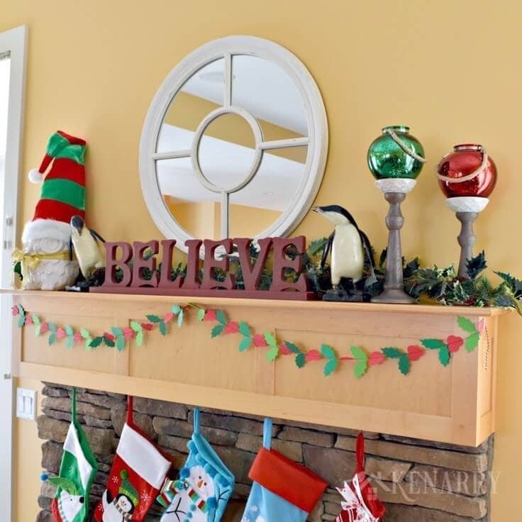 Christmas Mantel Decor Ideas Red and Green Accents - christmas mantel decor