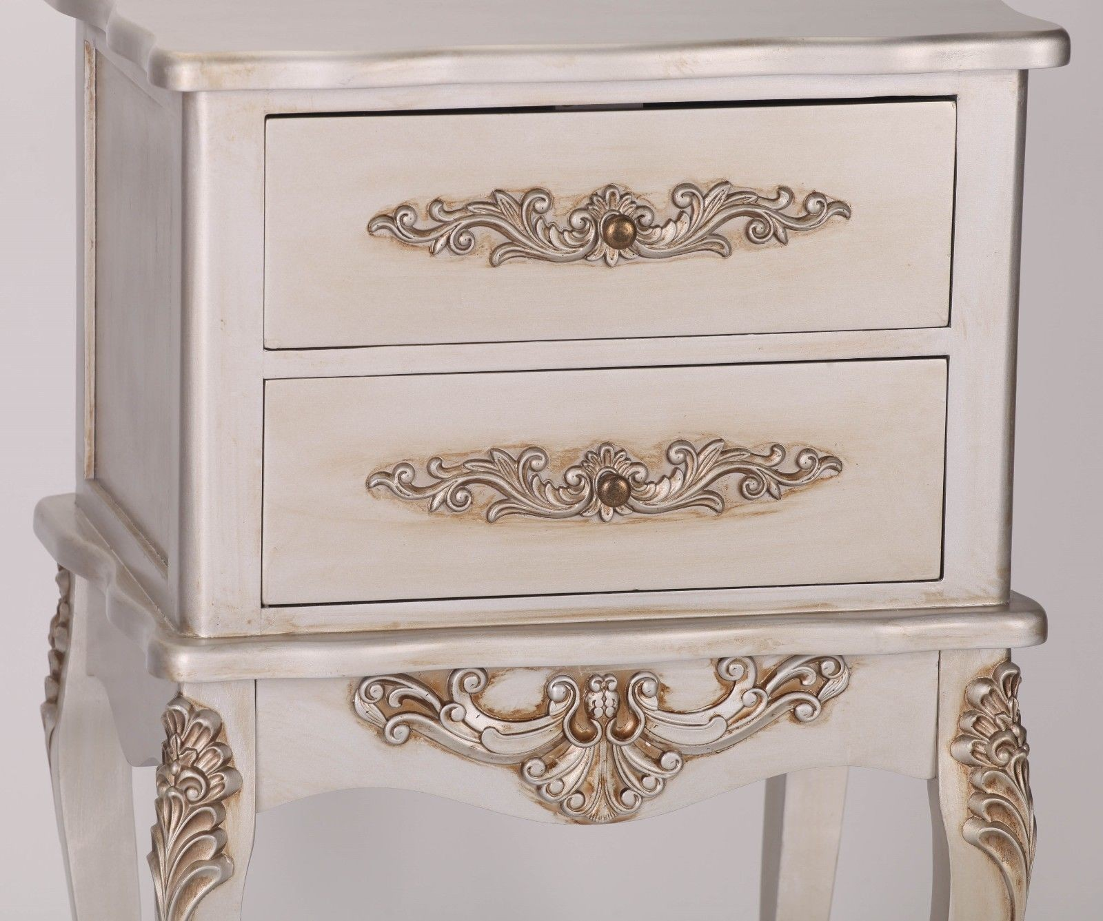 Small Bedside Table Clocks French Silver 2 Drawer Bedside Table Furniture La Maison