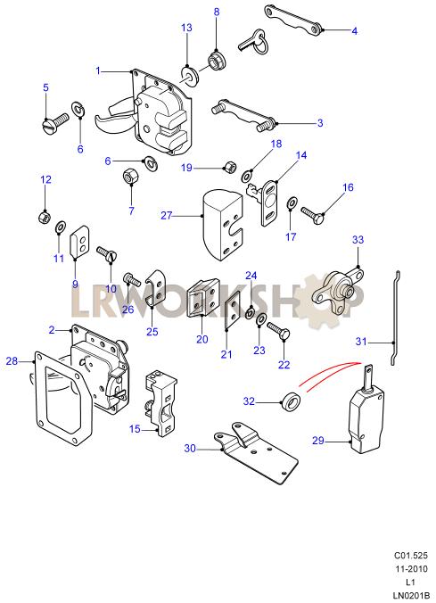 door lock mechanism diagram