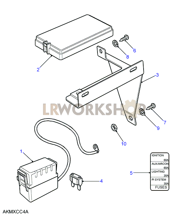 land rover fuse box connector part numbers