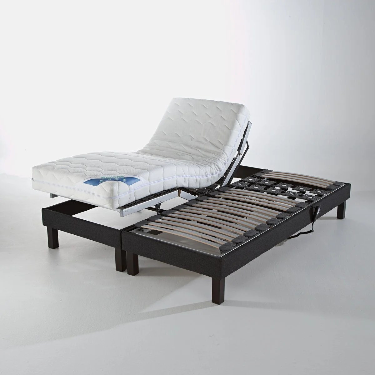 Lit Relaxation 2x90x200 Someo Sommier Relaxation Electrique Luxe Gris 2x80x200