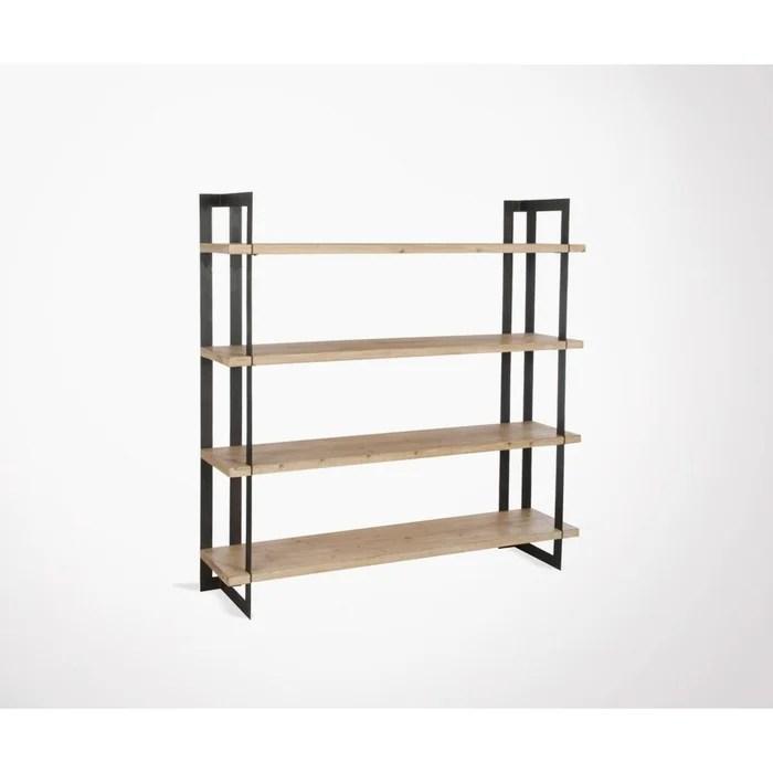 Étagère 4 planches bois massif et métal cornyco bois clair Meubles