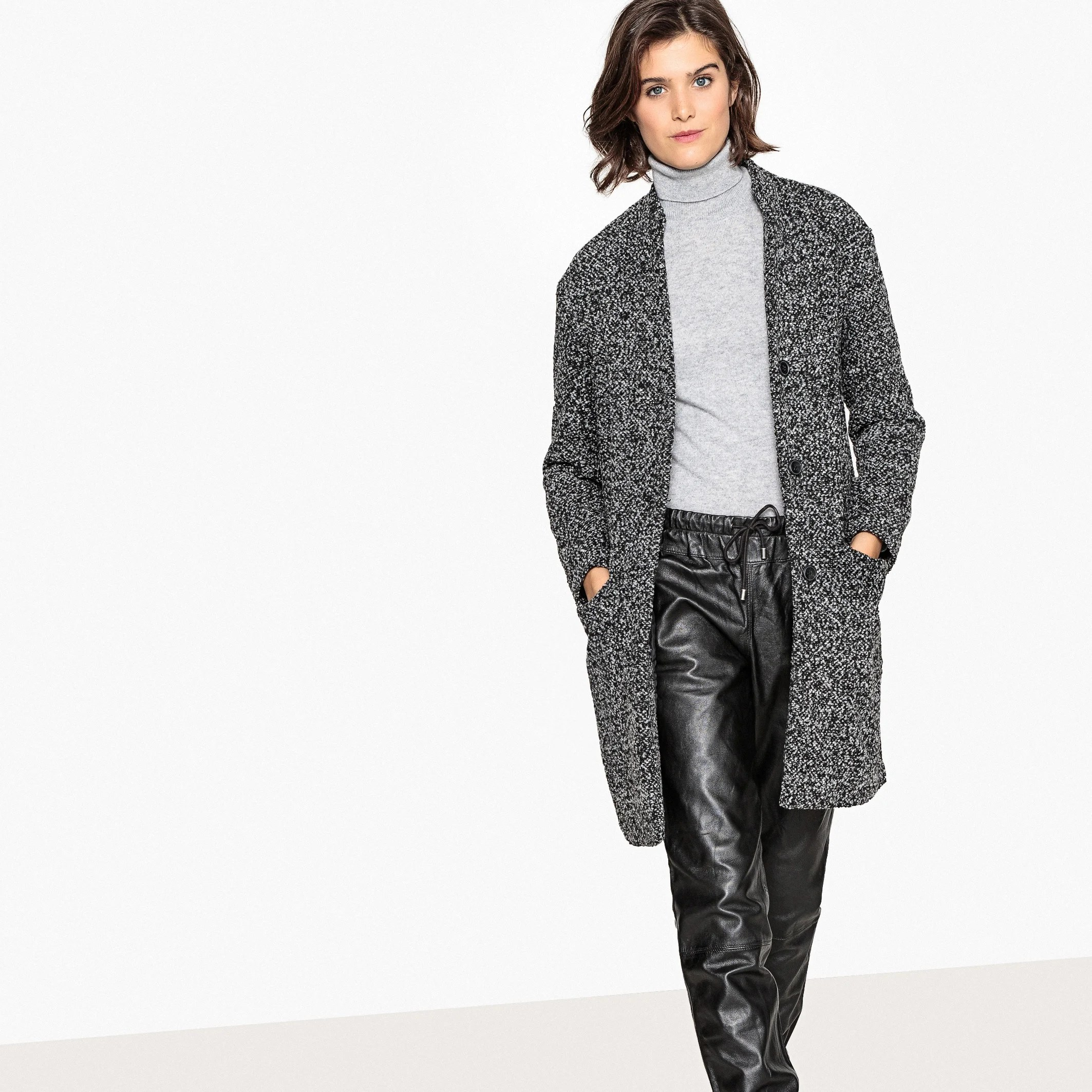 Single Breasted Marl Coat With Pockets Grey La Redoute
