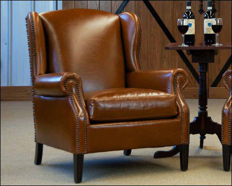 Classic Leather Cabernet Wing Chair 206 Leather