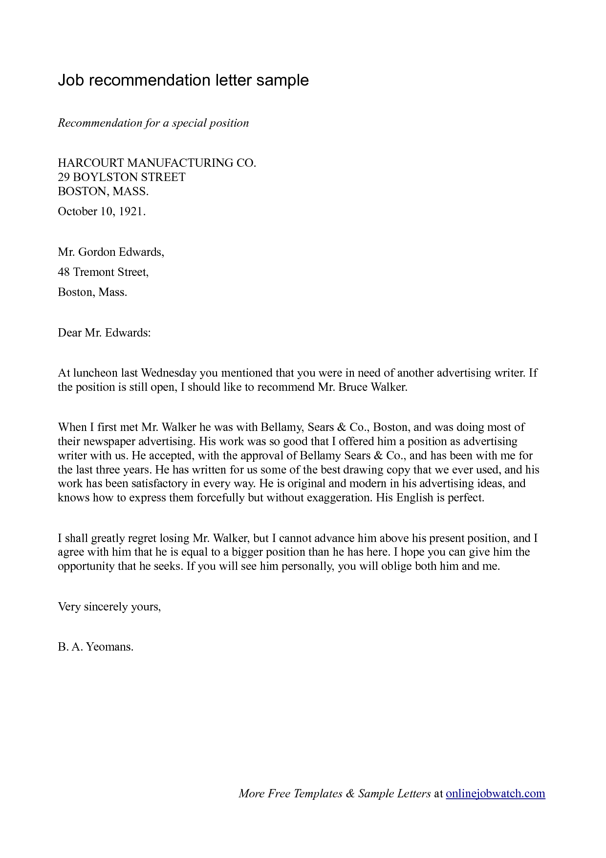 good letter of recommendation