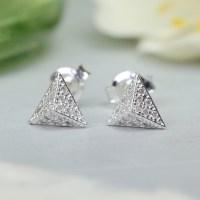 Buy Silver Diamate Pyramid Studs | Women's Earrings | Lisa ...