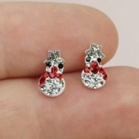 Sterling Silver Diamante Snowman Stud Earrings | Lisa Angel