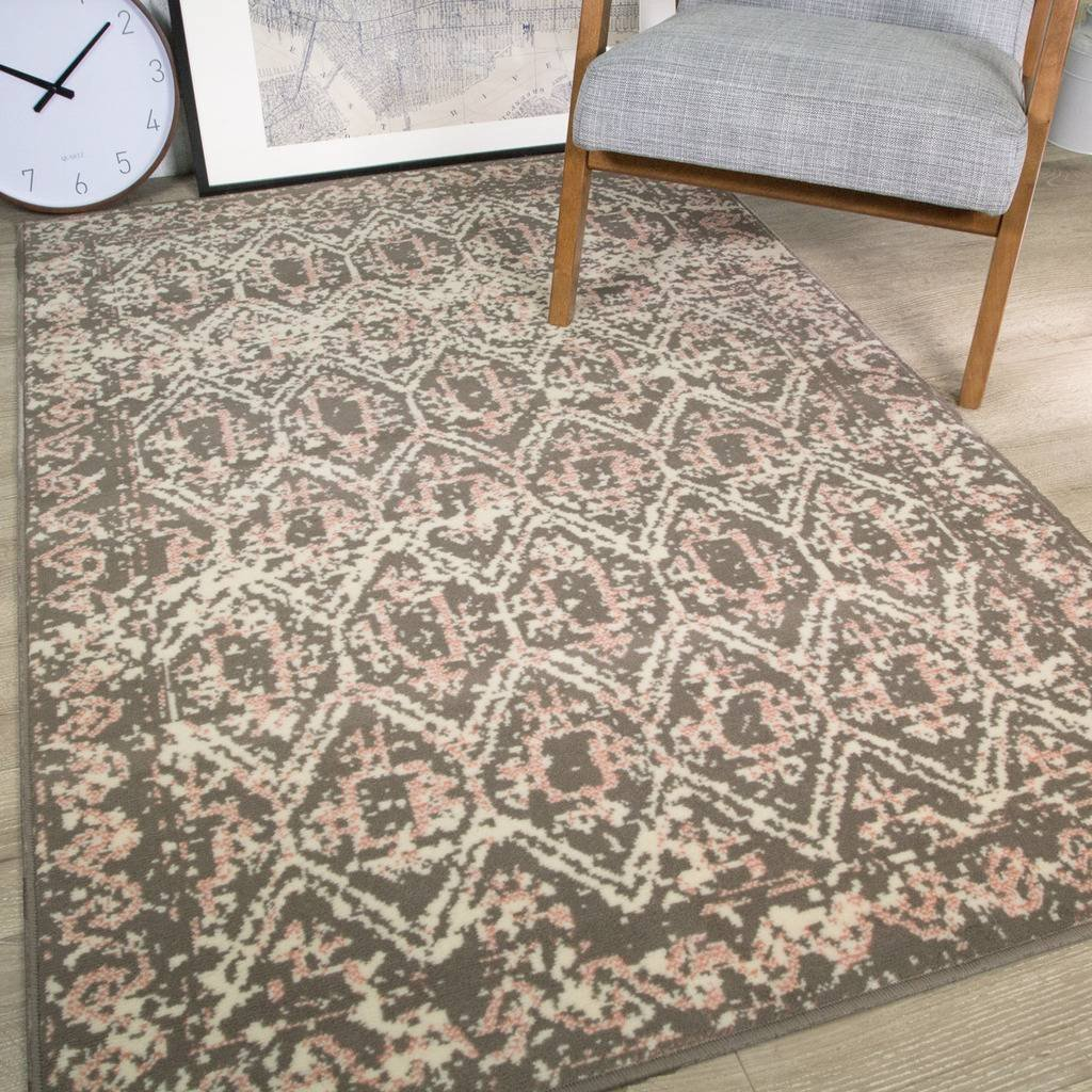 Hessian Rugs Details About Milan Vintage Traditional Moroccan Distressed Design Grey Silver Pink Cream Rug