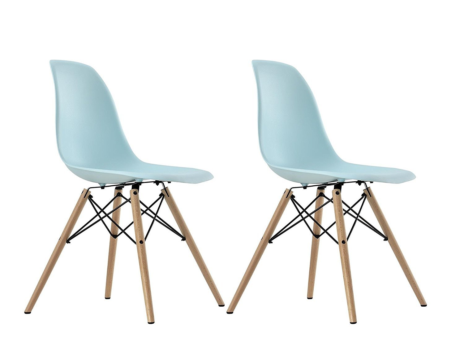 Eames Chair Replica Ebay Dhp Eames Replica Molded Chair With Wood Leg Set Of 2 Light Blue C012709