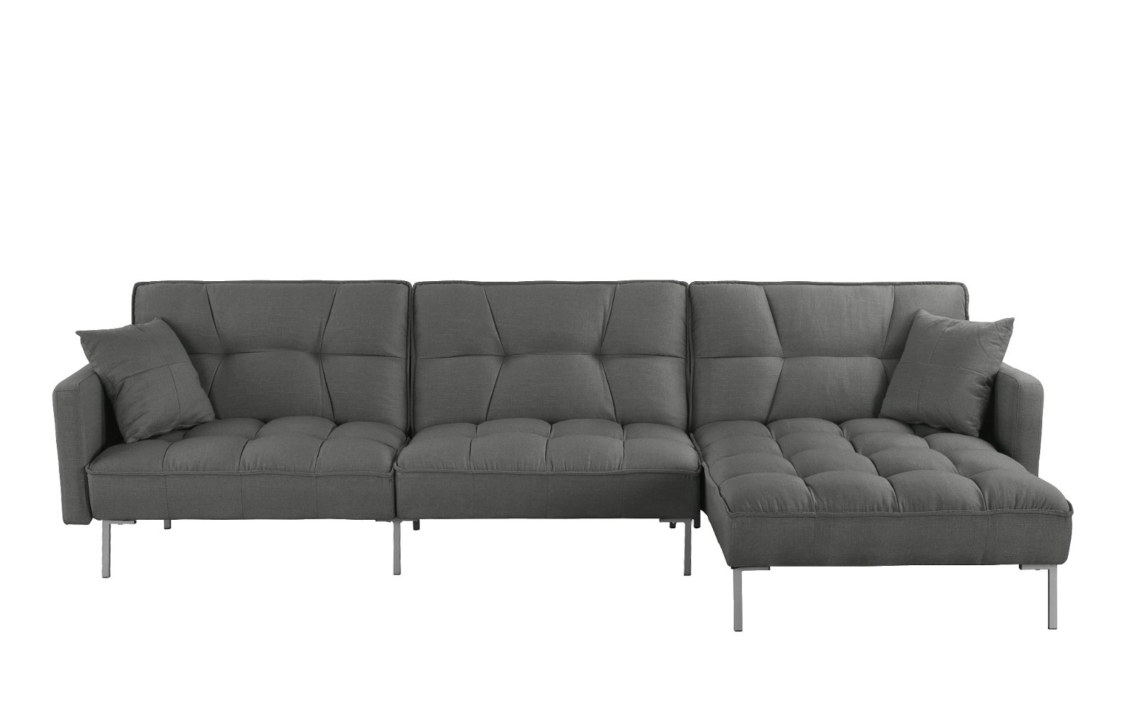 Sofamania Futon Details About Dark Grey Modern Living Room L Shape Fabric Futon Sectional Sofa 110 6