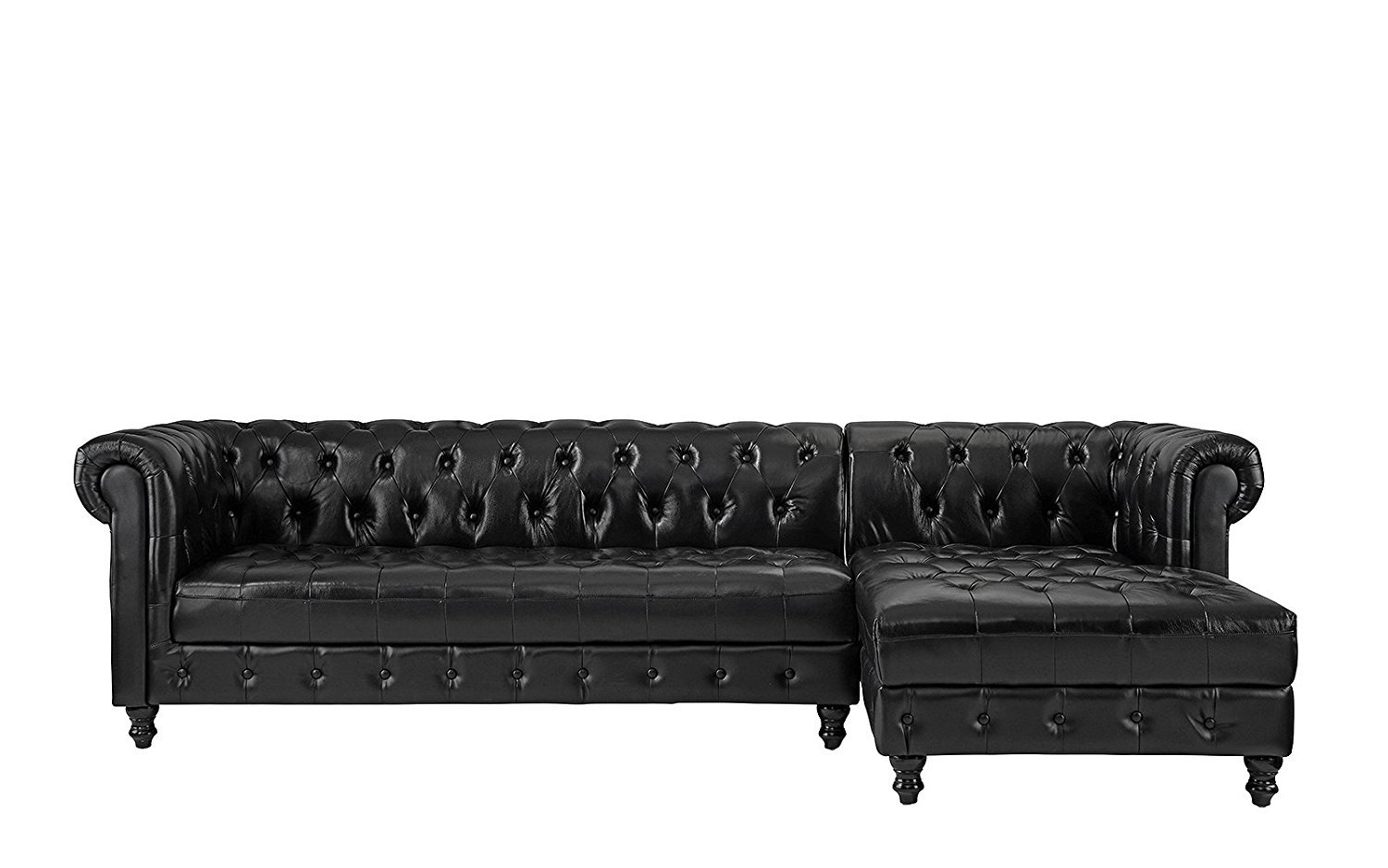 Chesterfield Sectional Sofa Details About Real Leather Chesterfield L Shape Tufted Sectional Sofa Right Chaise Black