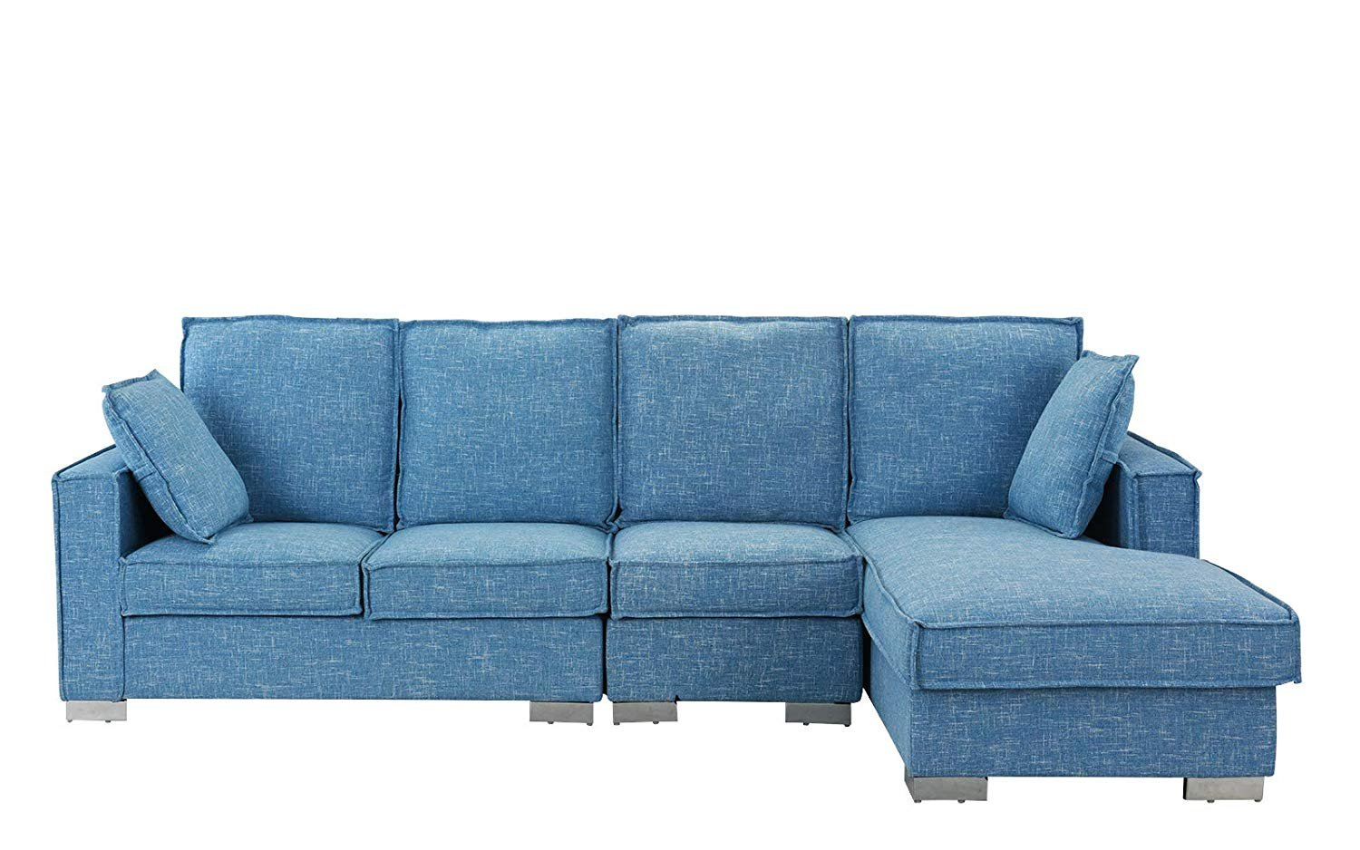 L Sofa Details About Modern Living Room Large Sectional Sofa L Shape Couch With Pillows Light Blue