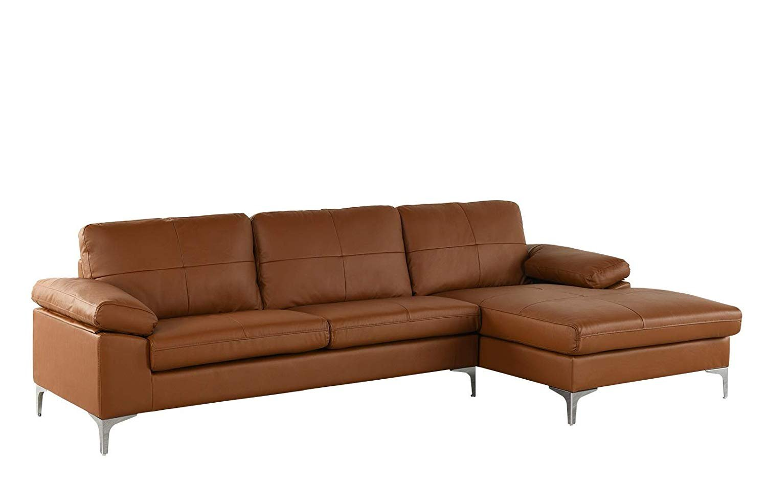 Sofa On Sale Ebay Camel Large Leather Sectional Sofa L Shape Couch With Chaise 108 7