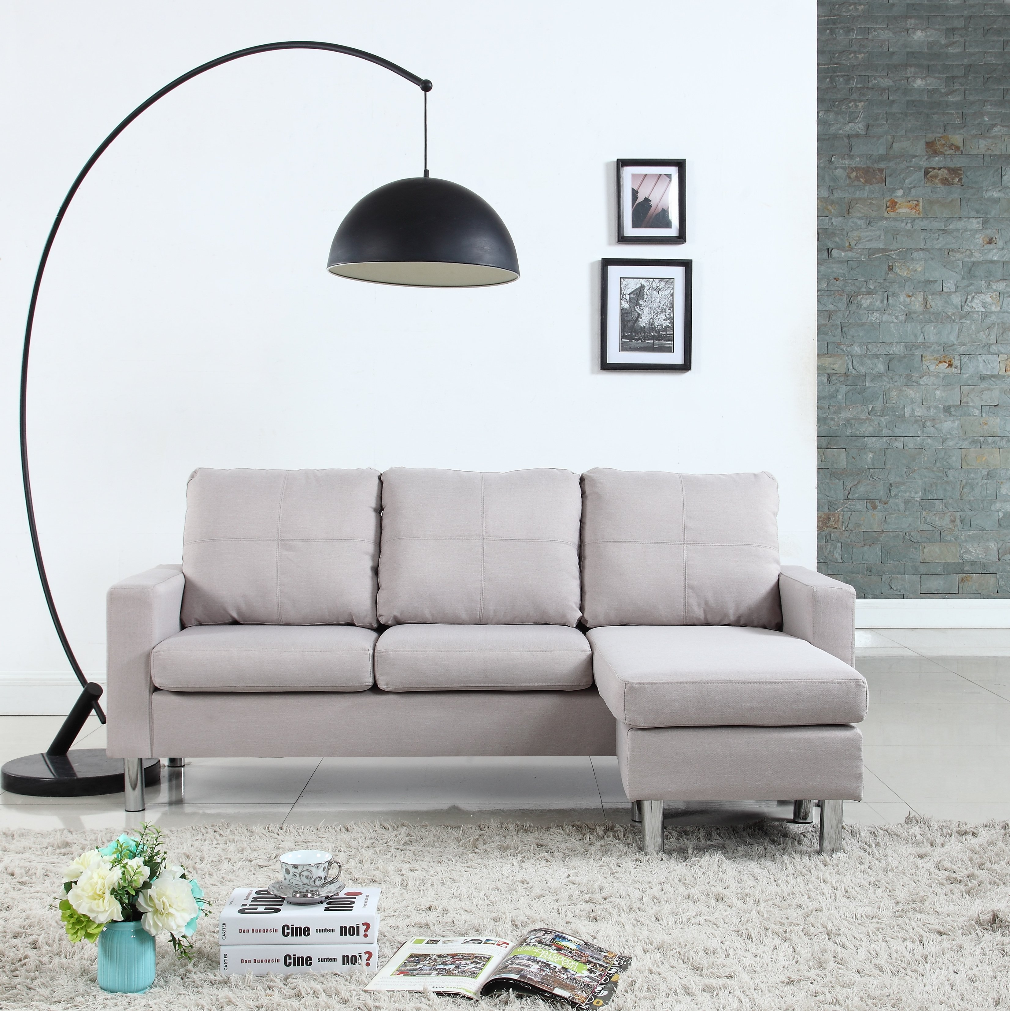 Modern Living Room Furniture For Small Spaces Moderne Living Room Reversible Linen Fabric Sectional Sofa Beige