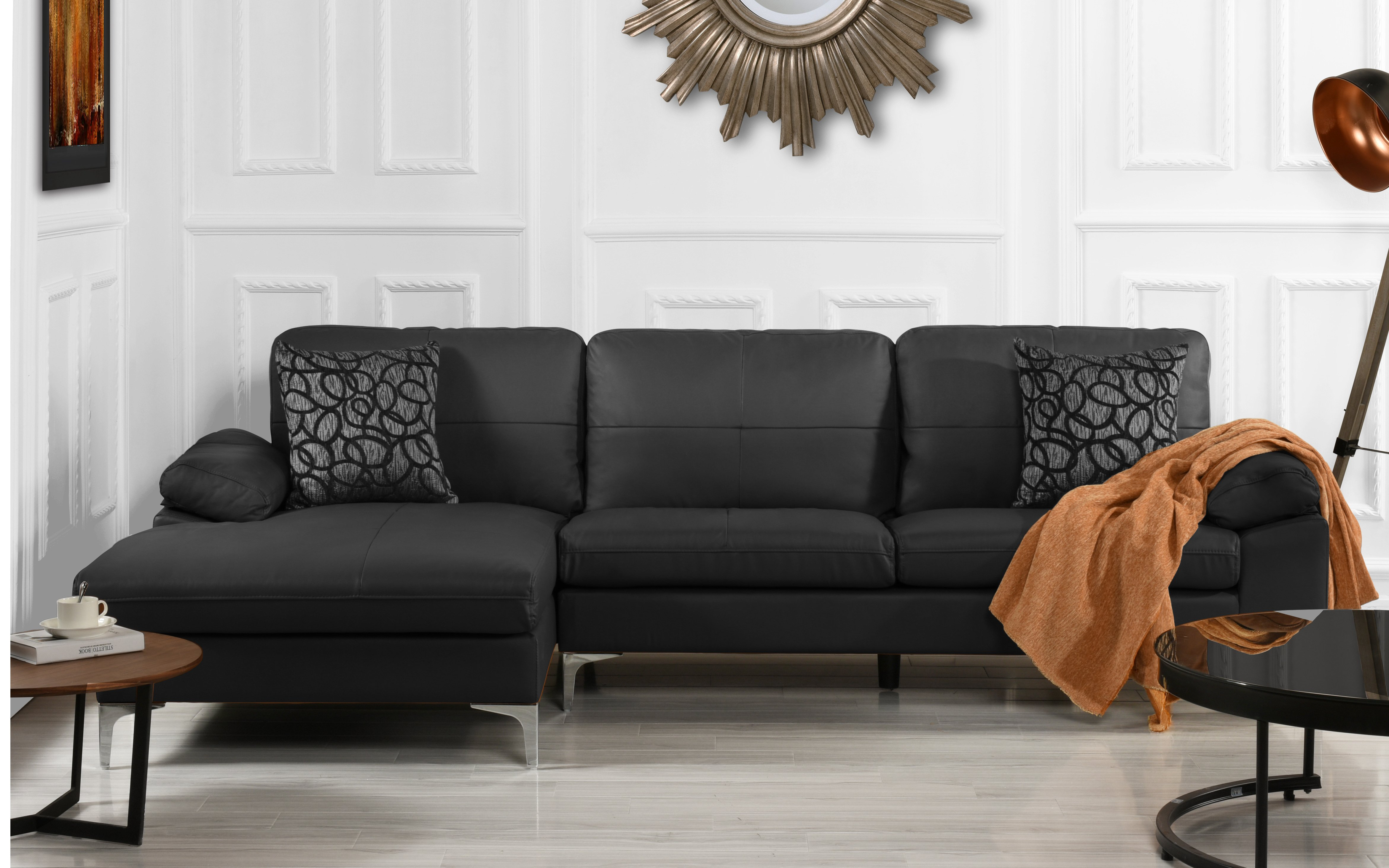 L Sofa Details About Living Room Family Room Leather Sectional Sofa L Shape Couch Left Chaise Black