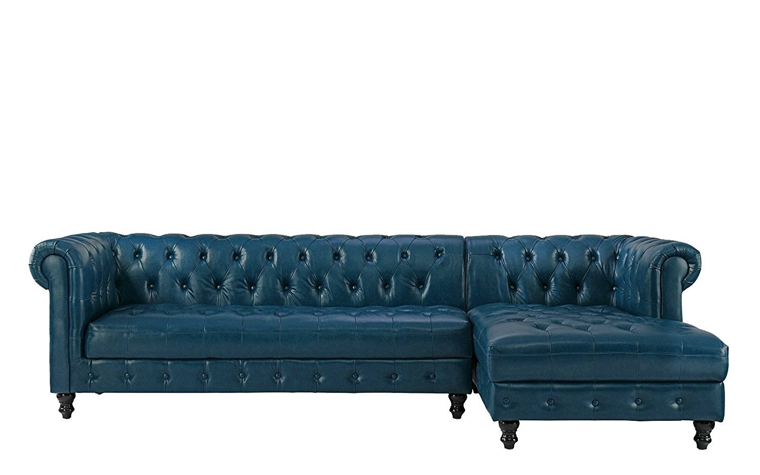 Chesterfield Sectional Sofa Details About Classic Tufted Leather Chesterfield L Shape Sectional Sofa Right Chaise Blue