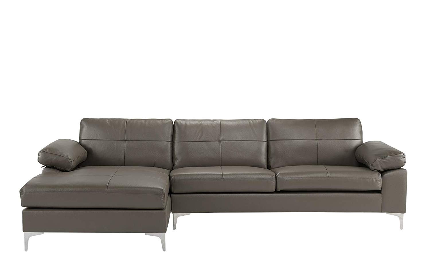Ebay Sofa Grey Details About Leather Sofa Sectional L Shape Couch With Chaise Grey