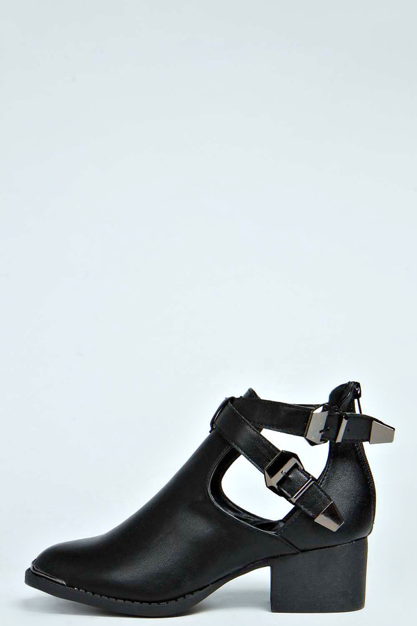 Boohoo Honey Cut Out Double Buckle Ankle Boot Where To