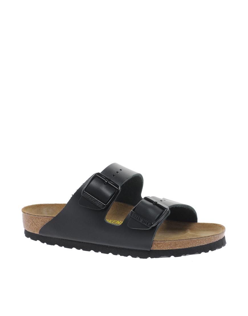 Black sandals with straps birkenstock arizona black leather two strap sandals