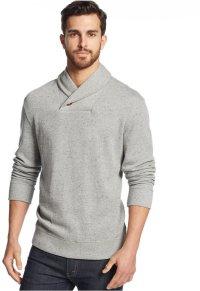 Grey Shawl Neck Sweater: Tasso Elba Sweater Shawl Collar ...