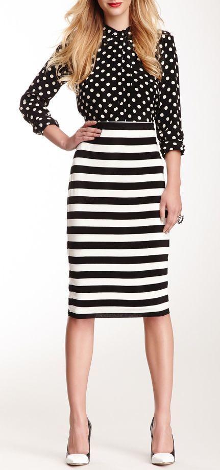 Women\u0027s Black and White Polka Dot Dress Shirt, White and Black