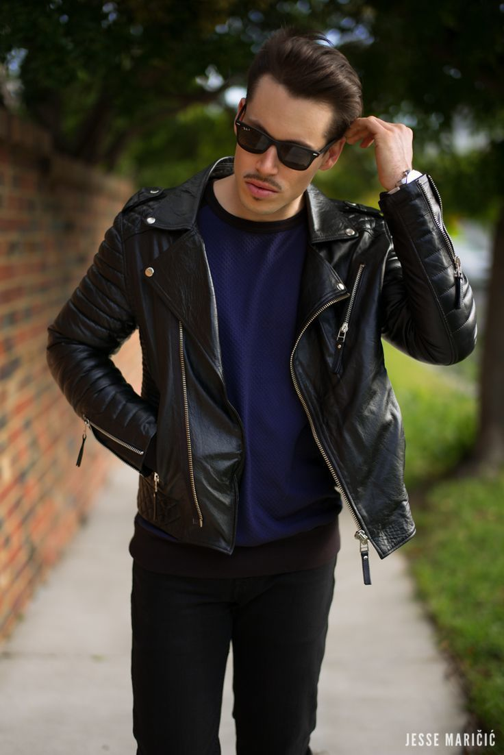 Black t shirt with dark blue jeans men 39s black leather biker jacket navy crew