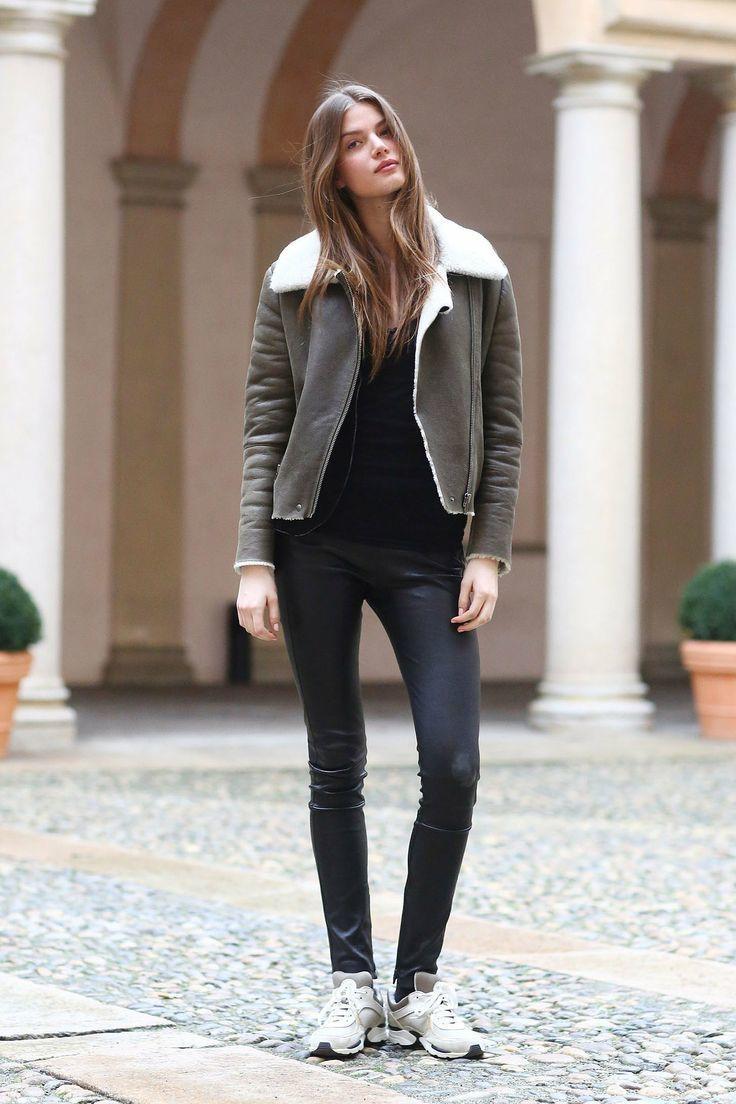 Black t shirt grey pants -  Grey Pants Women S Charcoal Shearling Coat Black Long Sleeve T Shirt Download