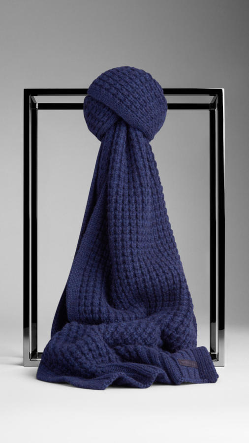 Burberry Waffle Knit Cashmere Scarf Where To Buy How To Wear - Cashmere Scarf Knitting Kit