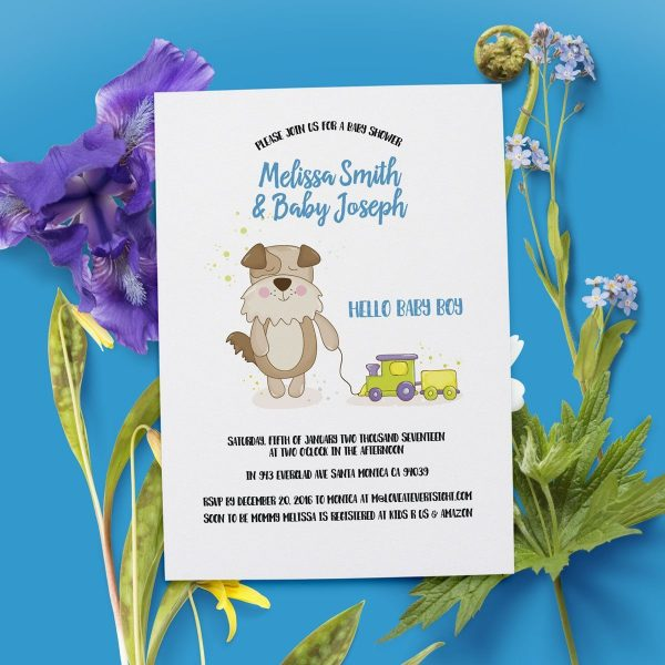 Hello Baby Boy\u201d Baby Shower Party Invitation Cards Personalized
