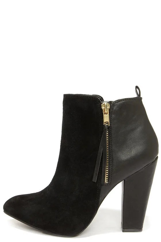 Leather Booties Steve Madden Jannyce - Black Boots - Suede Leather Boots