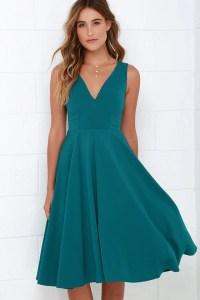 Lovely Teal Blue Dress - Midi Dress - Sleeveless Dress ...