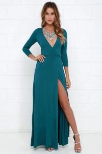 Lovely Teal Blue Maxi Dress - Wrap Dress - Wrap Maxi Dress ...