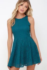 Lucy Love Hollie Jean - Skater Dress - Lace Dress - Teal ...