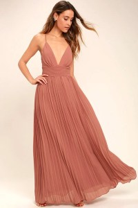 Stunning Rusty Rose Dress - Pleated Maxi Dress - Pink Gown ...