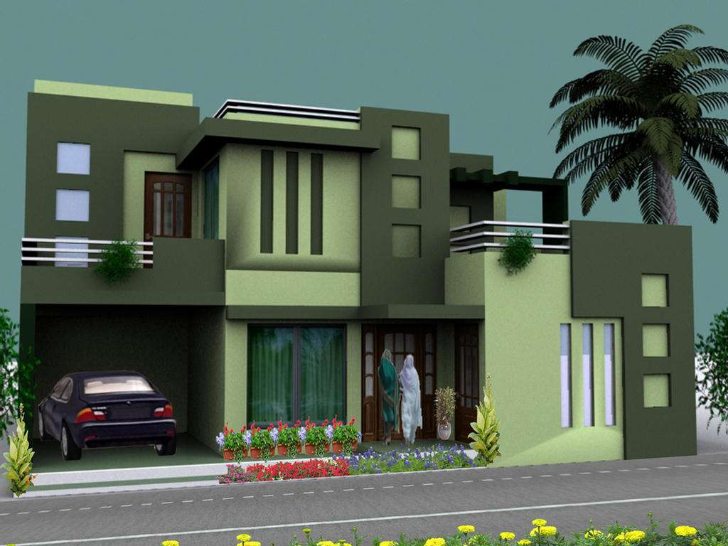 100 home design for 7 marla house plan for 32 feet for Home elevation designs 3d
