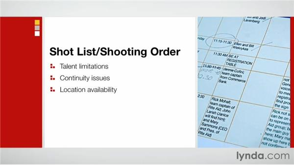 Creating a shot list and shooting order